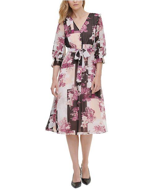 Calvin Klein Printed 3/4-Sleeve Fit & Flare Dress