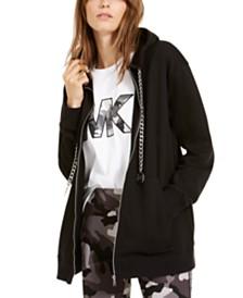 Michael Michael Kors Chain Drawstring Zip-Front Hoodie