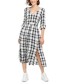 Juniors' Plaid Maxi Shirtdress, Created For Macy's
