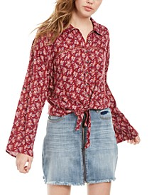 Juniors' Crochet-Trim Tie-Front Top, Created For Macy's