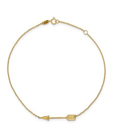 Polished Arrow Anklet in 14k Yellow Gold