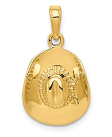 Cowboy Hat Pendant in 14k Yellow Gold