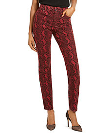 INC INCEssential Snake-Print Skinny Jeans, Created For Macy's