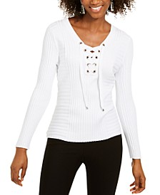 INC Petite Lace-Up Ribbed-Knit Sweater, Created for Macy's