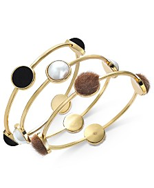 I.N.C. Gold-Tone 3-Pc. Set Imitation Pearl, Fabric & Faux-Fur Bangle Bracelets, Created For Macy's