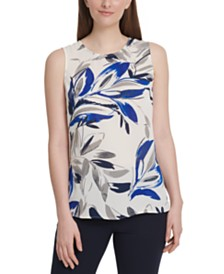DKNY Printed Scoop-Neck Top