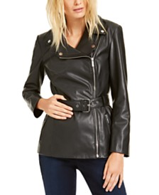 I.N.C. Belted Faux-Leather Moto Jacket, Created For Macy's