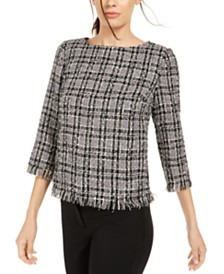Anne Klein Tweed Fringe-Trim Top