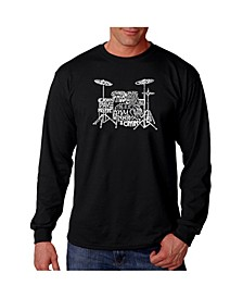 Men's Word Art Long Sleeve T-Shirt- Drums