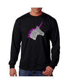 Men's Word Art Long Sleeve T-Shirt - Unicorn