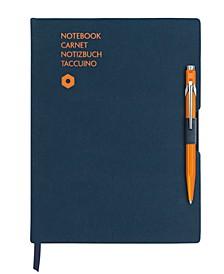 A5 Blue Notebook with Orange 849 Ballpoint Pen