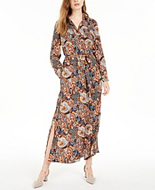 Juniors' Paisley-Print Maxi Shirtdress