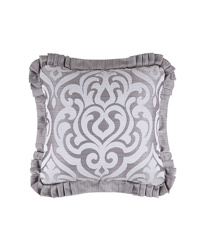 """J Queen New York - Luxembourg   Silver Silver 20"""" Square Decorative Throw Pillow"""