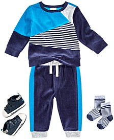 Baby Boys Colorblocked Sweatshirt & Jogger Pants, Socks & Star Sneakers, Created For Macy's