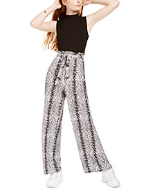 Common Stitch Juniors' Snake-Embossed Paperbag Jumpsuit