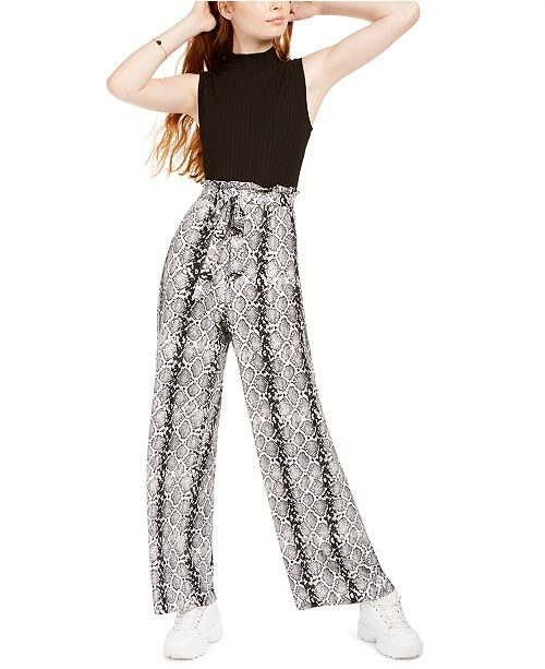 No Comment Juniors' Snake-Embossed Paperbag Jumpsuit