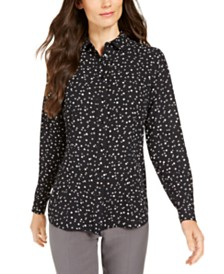 Anne Klein Dot-Print Button-Up Blouse
