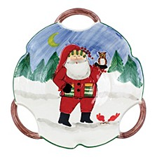 Old St. Nick Handled Scallop Santa Bowl- Owl