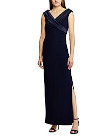 Sleeveless Portrait-Collar Draped Gown