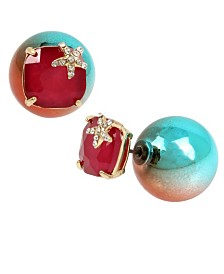 Betsey Johnson Mermaid Metallic Round Bead & Stone Front Back Earrings