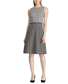 Petite Two-Tone Jacquard Dress