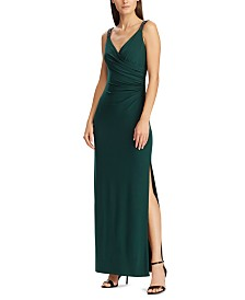 Lauren Ralph Lauren Beaded-Strap Jersey Gown, Created For Macy's