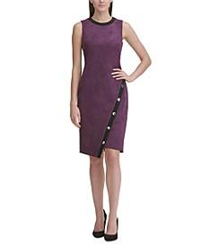 Faux-Suede Asymmetrical Sheath Dress