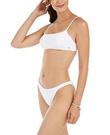 Juniors' Solid Textured Casual Mood Underwire Bralette Bikini Top & Mod Bottoms