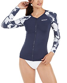 Juniors' Printed Long Sleeve Zip-Front Rash Guard
