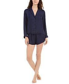Bardot Satin Long-Sleeve Top & Shorts Pajamas Set