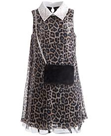 Big Girls Sequined Cheetah-Print Dress & Faux-Fur Purse