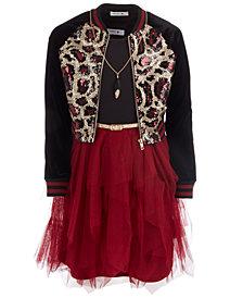 Beautees Big Girls 3-Pc. Sequined Bomber Jacket, Necklace & Mesh Fairy Dress Set