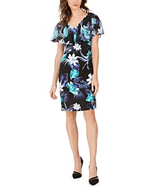 Floral-Print Popover Sheath Dress