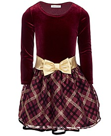 Little Girls Velvet Drop-Waist Plaid Dress