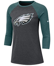 Women's Philadelphia Eagles Logo Three-Quarter Sleeve T-Shirt