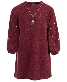 Big Girls Sweater Dress & Necklace Set