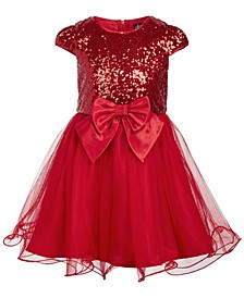 Little Girls Sequined Bow-Front Mesh Dress