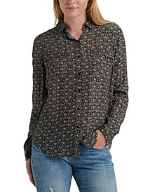 Floral-Print Button-Front Shirt