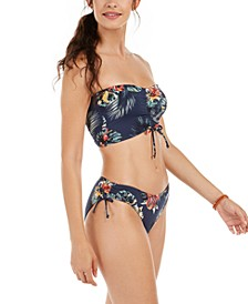 Juniors' Local Mind Printed Rube Bandeau Bikini Top & Full Bottoms
