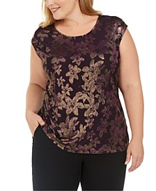Plus Size Metallic Floral Top
