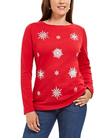 Petite Embellished Snowflake Top, Created For Macy's