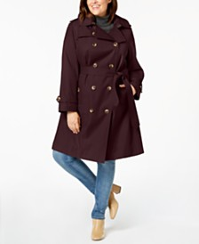 London Fog Plus Size Double-Breasted Hooded Trench Coat, Created for Macy's