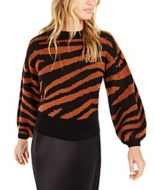 Becca Tilley x Zebra-Print Volume Sleeve Sweater, Created For Macy's