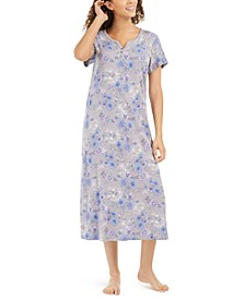 Cotton Floral-Print Long Nightgown, Created for Macy's