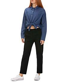 Juniors' Cotton Tie-Front Shirt