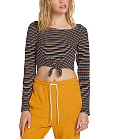 Juniors' Cropped Tie-Front Top