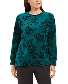Petite Floral-Print Sweatshirt, Created For Macy's