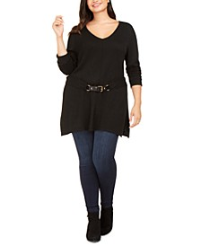 INC Plus Size Belted Tunic Sweater, Created For Macy's