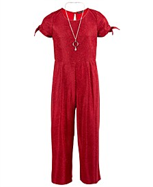 Big Girls Glitter Jumpsuit & Necklace Set