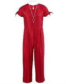 Sequin Hearts Big Girls Glitter Jumpsuit & Necklace Set
